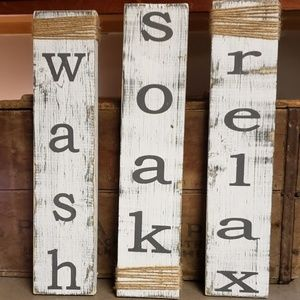 NEW Set of 3 White Wooden Wash Soak Relax Signs